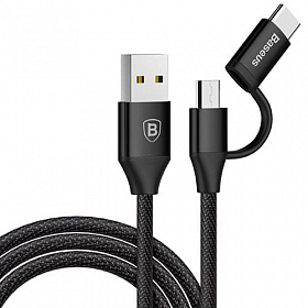 Baseus Yiven 2-1 Cable (Micro/Type-C) 1M Black