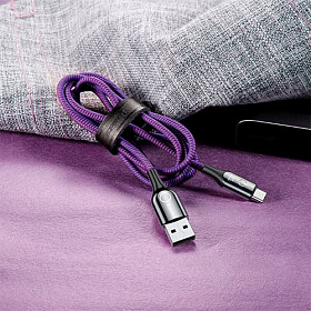 Baseus C-shaped Light Intelligent power-off Cable USB For Type-C 3A 1M Purple